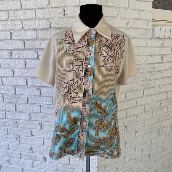 Vintage 70s Dagger Collar Button Down Leaf Shirt